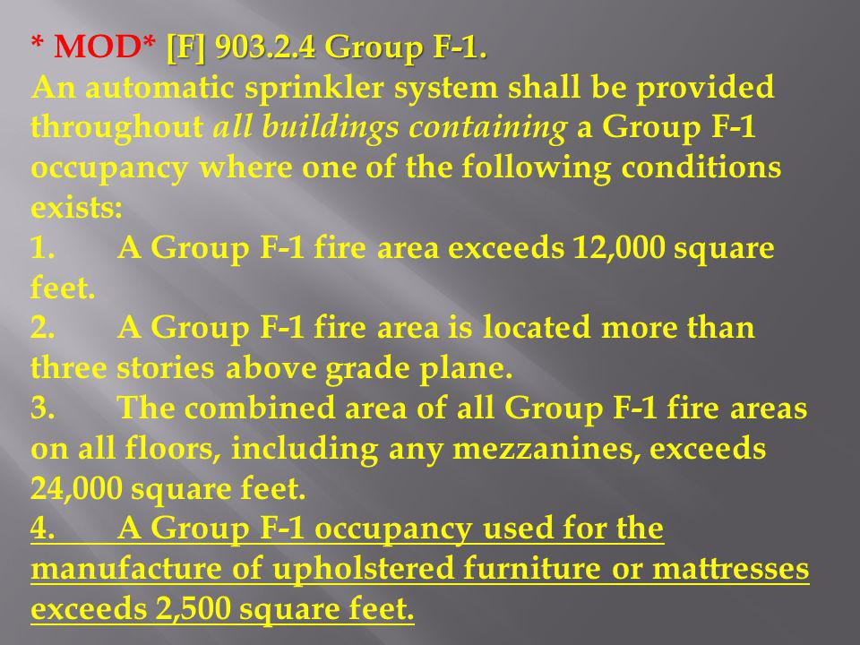 * MOD* [F] 903.2.4 Group F-1.